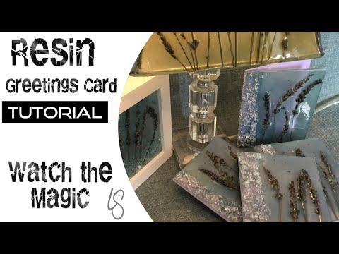 How to make beautiful resin greetings cards. Flowers in resin tutorial
