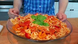 Doug Cooking - Roasted Red Pepper Pasta Salad