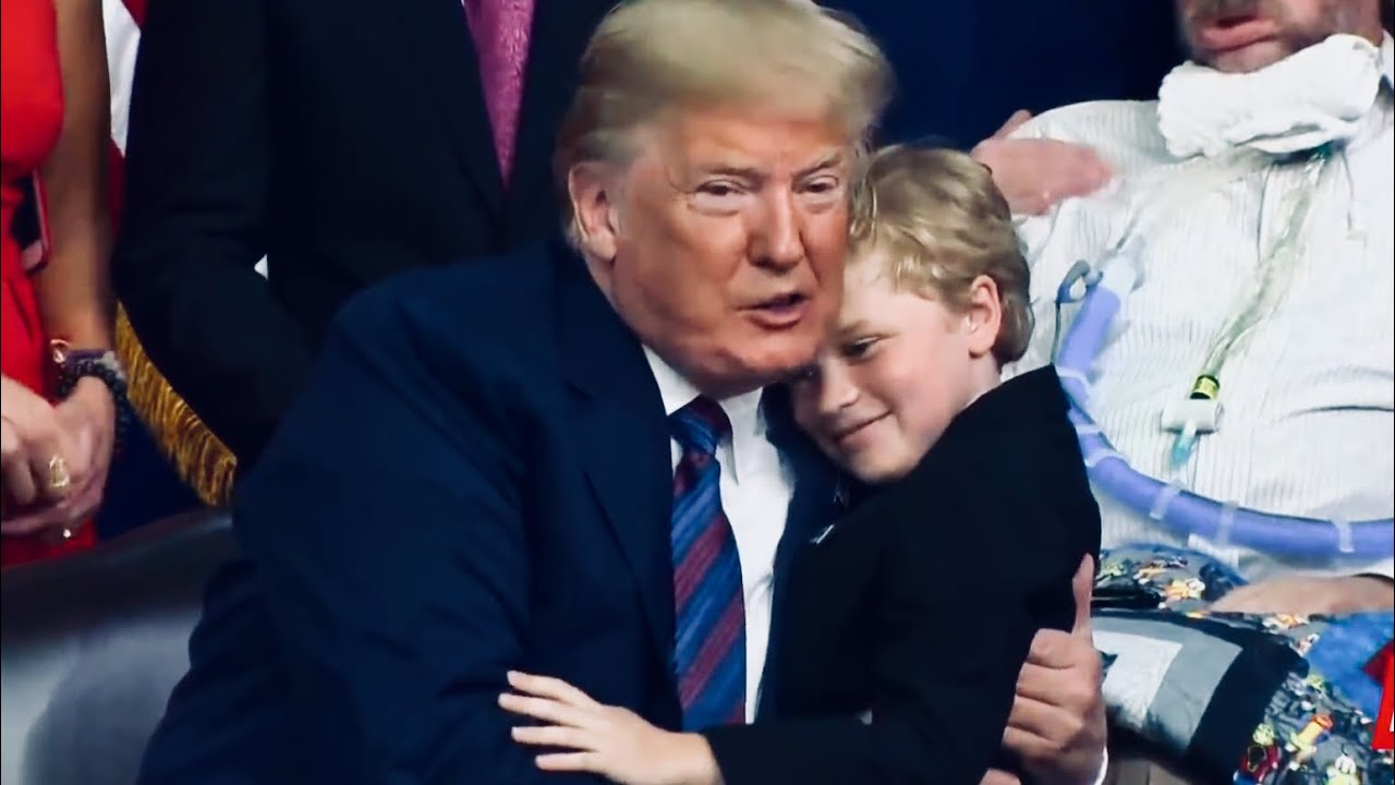 Trump giving boy a hug