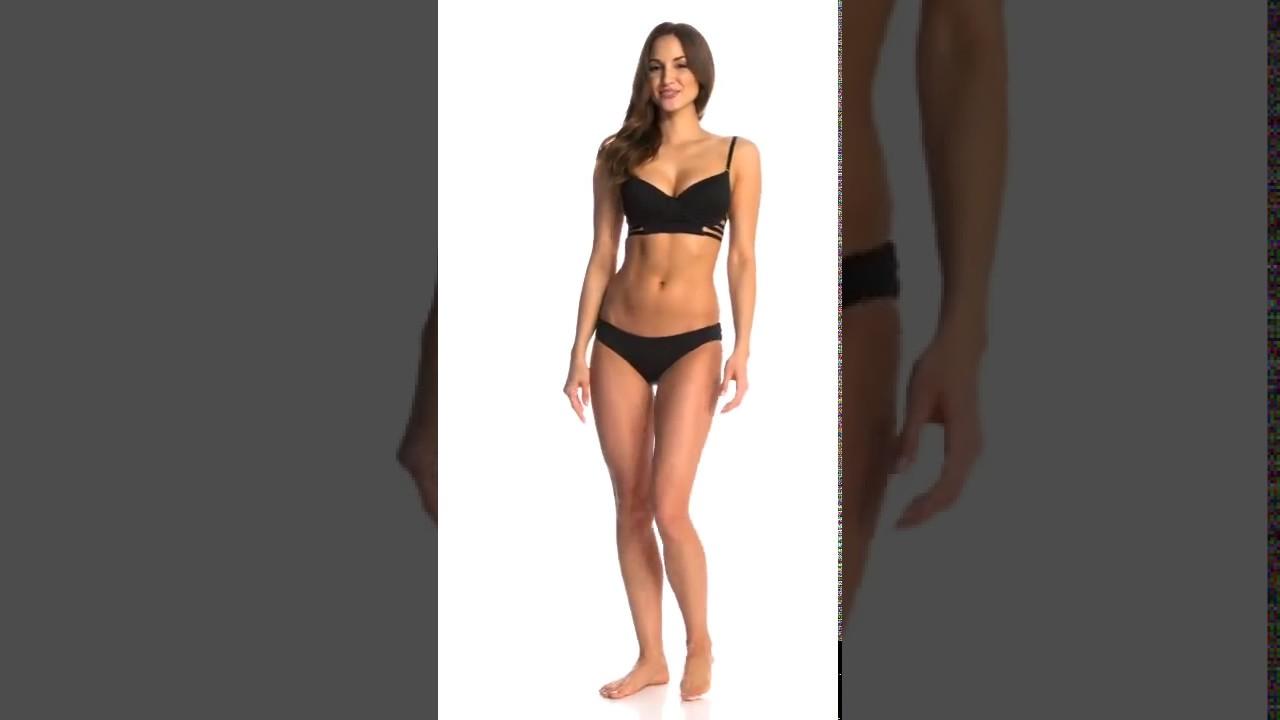 71faed1132658 Aerin Rose Jet Underwire Longline Cage Bra Bikini Top | SwimOutlet.com