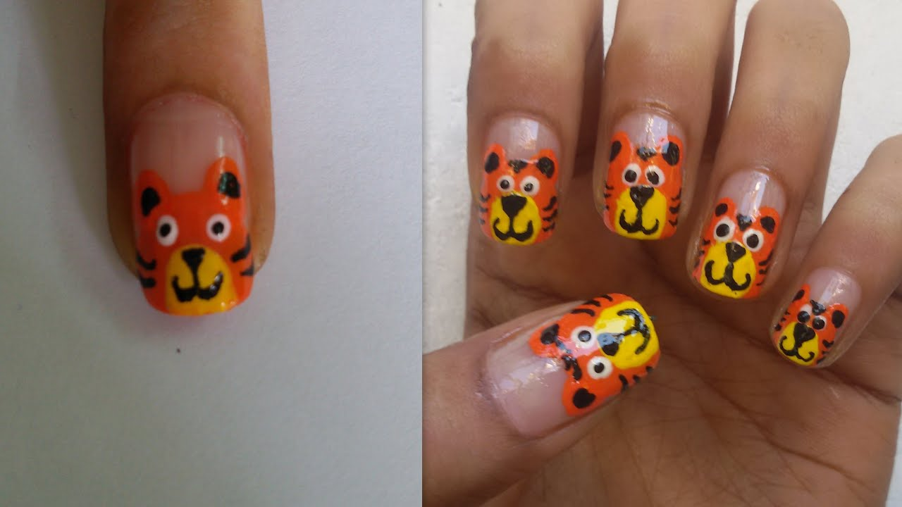 Cartoon Tiger Nail Art Youtube