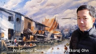 Watercolor Demonstration, Floating market in Pathumthanee, Thailand.