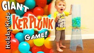 Giant KERPLUNK Game! Don't Let the Balls Fall withHobbyKidsTV