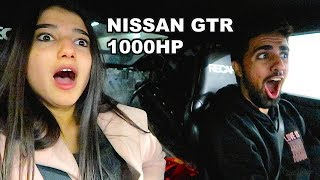 CUTE GIRL REACTS TO 1000HP NISSAN GTR !!!