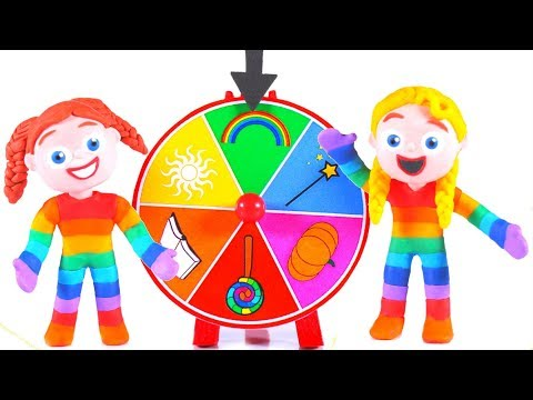 FUNNY KIDS AND THE DRESS WHEEL OF FORTUNE ❤ Play Doh Cartoons For Kids