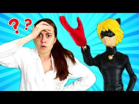 Видео с куклами Леди Баг – Что с рукой Супер Кота? – Игры для девочек с Доктором Ау.