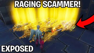 Raging Cheater Scams Himself! (Scammer Get Scammed) Fortnite Save The World