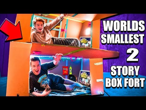 WORLDS Smallest TWO Story Box Fort 24 Hour Challenge  Fortnite, Beyblades, Xbox One & More!