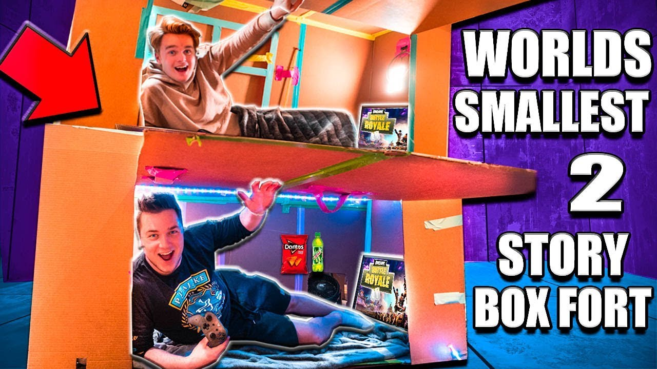 worlds-smallest-two-story-box-fort-24-hour-challenge-fortnite-beyblades-xbox-one-more