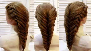 💚💜Коса Рыбий хвост💚💜Косички💚💜Плетение💚На средние волосы💜Hairstyles Braids fishtail💜 топ