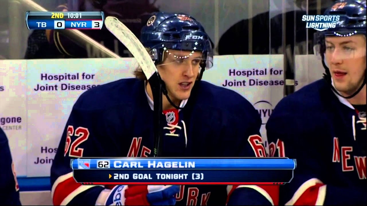 buy online f740b 16817 Carl Hagelin goal Feb 10 2013 Tampa Bay Lightning vs NY Rangers NHL Hockey