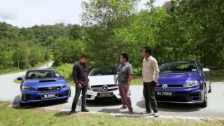 DRIVEN 2014 #4: Mercedes A 45 AMG vs VW Golf R vs Subaru WRX STI