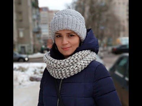 Вязание крючком шапочки зимние видео
