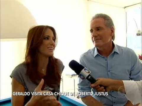 Geraldo visita a casa dos apresentadores Roberto Justus e Ticiane Pinheiro
