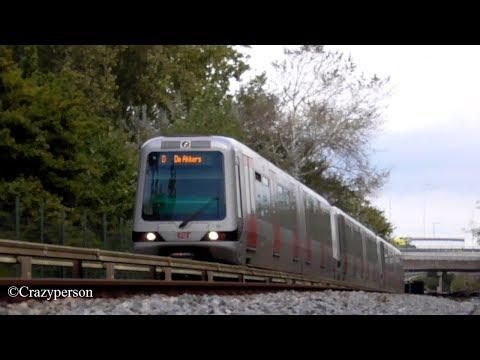 Metro Along the track Near Waalhaven Rotterdam