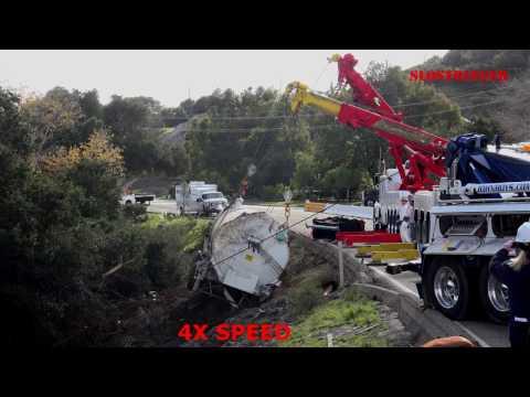 Praxair Liquid Nitrogen Tanker Truck Rollover Recovery - SLO County 12/24/16