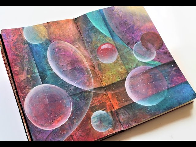 Acrylic abstract art tutorial-art journal page. How to blend acrylics, abstract painting techniques.
