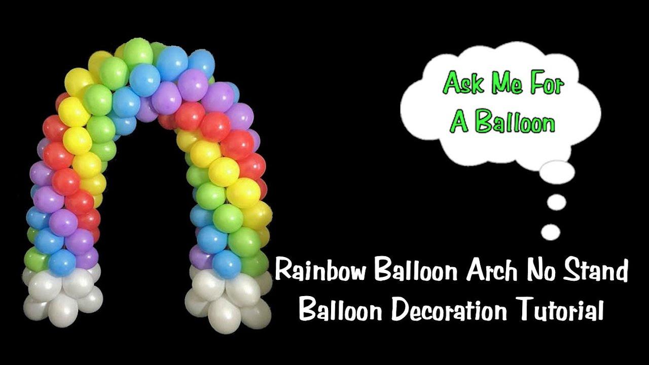 Rainbow balloon arch diy balloon decoration tutorial for Balloon decoration ideas youtube