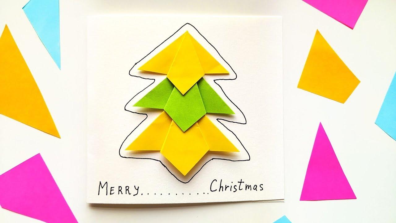 diy origami christmas tree card tutorial  easy winter