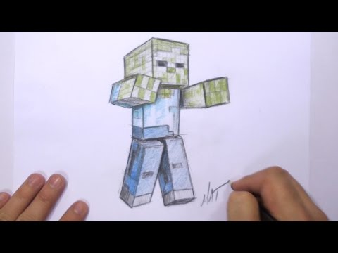 How to Draw a 3D Minecraft Zombie | MAT