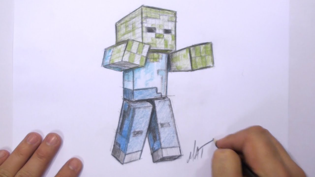 How To Draw A 3d Minecraft Zombie Mat Youtube