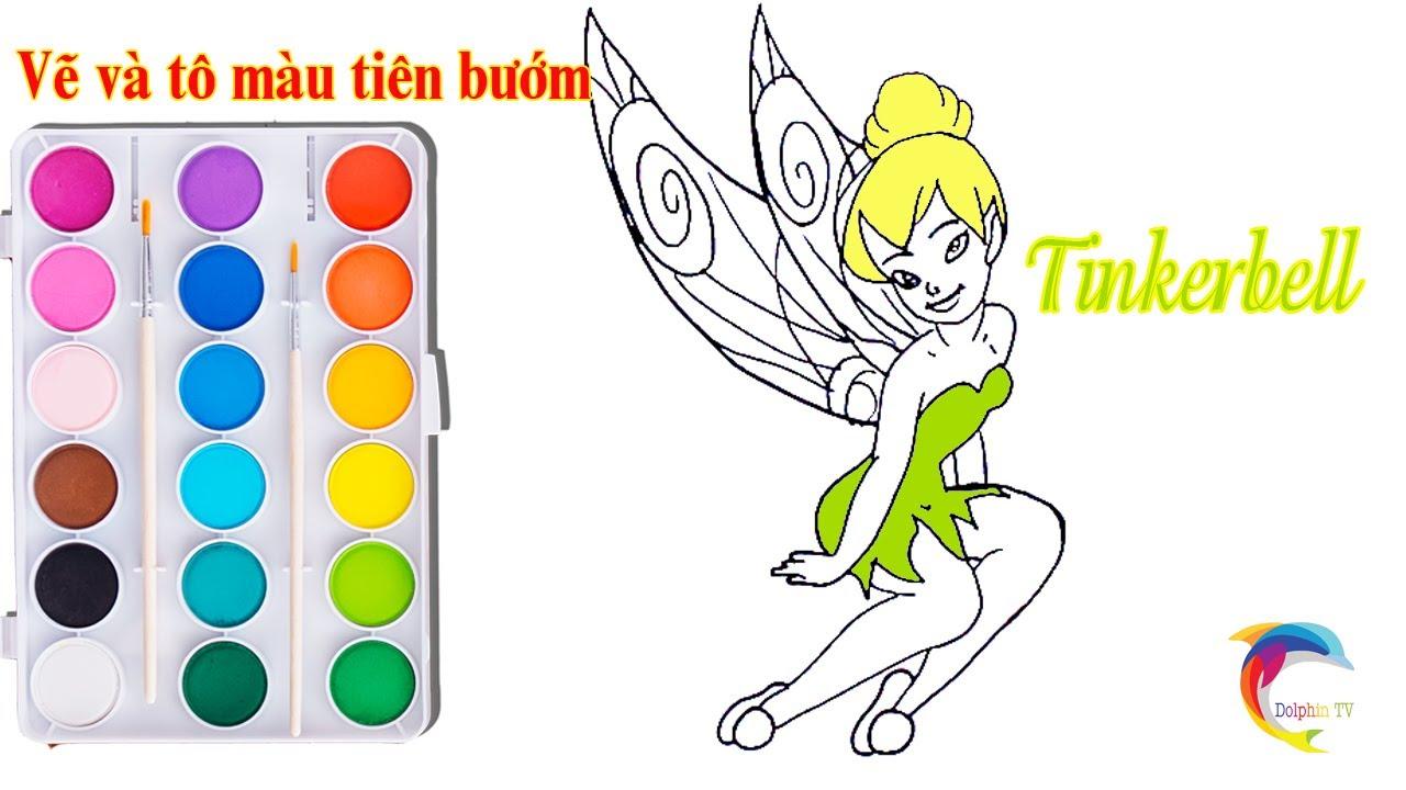 Cách vẽ Tiên Bướm Tinkerbell   Dạy bé học vẽ   How to draw Tinkerbell