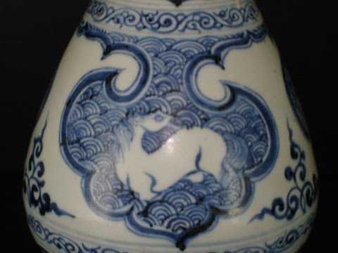 Yuan blue white vase, China antique porcelain 袁蓝白色的花瓶,中国古董瓷器
