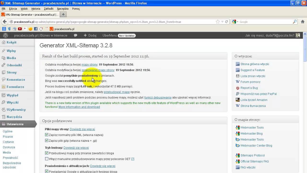 wtyczka google xml sitemaps youtube