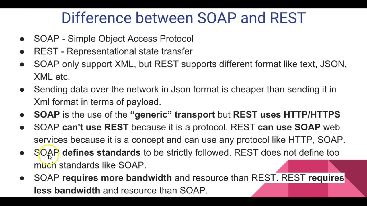 Difference between SOAP REST API