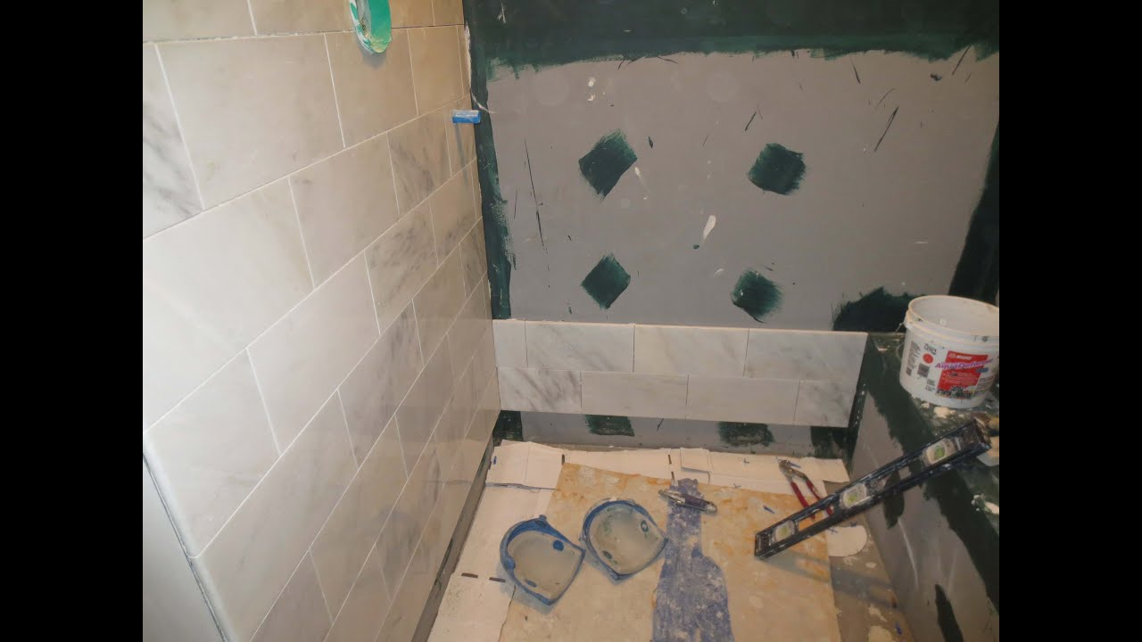 Marble Carrara tile bathroom Part 2 Installing the Carrera marble ...