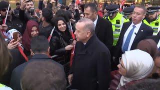 Fans greet Erdogan in London on sidelines of NATO summit   AFP