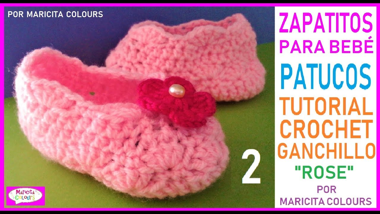 Zapatitos BebE Escarpines ROSE a CROCHET (Parte 2) Merceditas por...