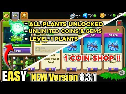 Plants vs Zombies 2 Unlimited Coins and Gems   Unlock All Plants   PvZ2 Mod 2021  All Plants level 1   Thủ thuật máy tính và điện thoại 1