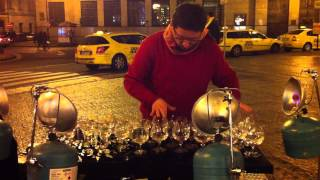 Игра на бокалах - классическая музыка (Прага 2014) Water Glass music Harp (Prague 2014)