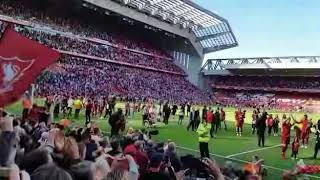 Liverpool FC Lap of Honour 2017-18.  View from The KOP