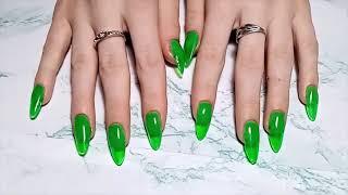 НАРАЩИВАНИЕ ногтей гелем на нижние бумажные формы Неоновый маникюр Миндаль