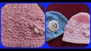 Вязание детской розовой шапочки крючком из 100% хлопка. Часть1