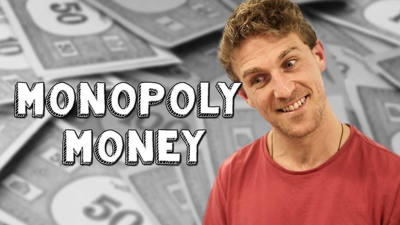 Using fake money to buy things - Monopoly Money