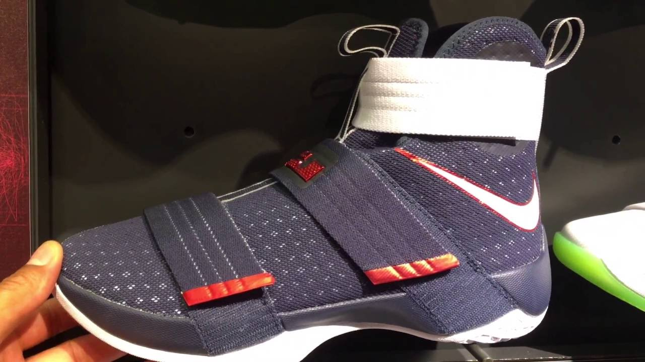 LEBRON SOLDIER 10 NAVY BLUE RED WHITE UP CLOSE AND PERSONAL - YouTube e71d47573207