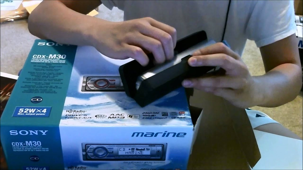 sony marine cdx m30 car stereo unboxing [ 1280 x 720 Pixel ]