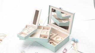 Gift Her, Mint Green LUTAVOY Deluxe Jewelry Organizer with Large Mirror and Travel Case