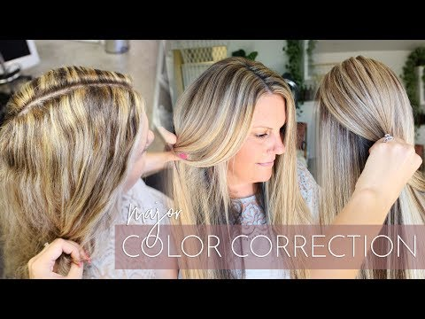 Blonde Highlights Gone Wrong - Major Color Correction 😱 How to Fix Spotty Hair Color