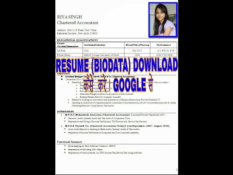 How to download resumes (biodata) in google - YouTube - how to download a resume