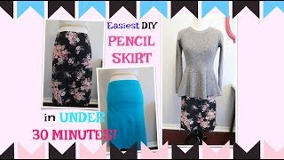 EASIEST DIY PENCIL SKIRT IN UNDER 30 MINUTES! SEWING PROJECT FOR BEGINNERS