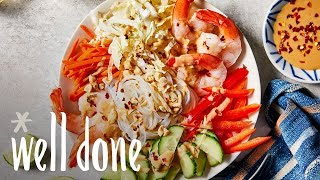 How to Make No-Cook Shrimp Noodle Bowl | Recipe | Well Done