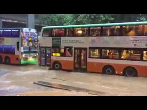 Bus with lots of water after torrential rain in Hong Kong