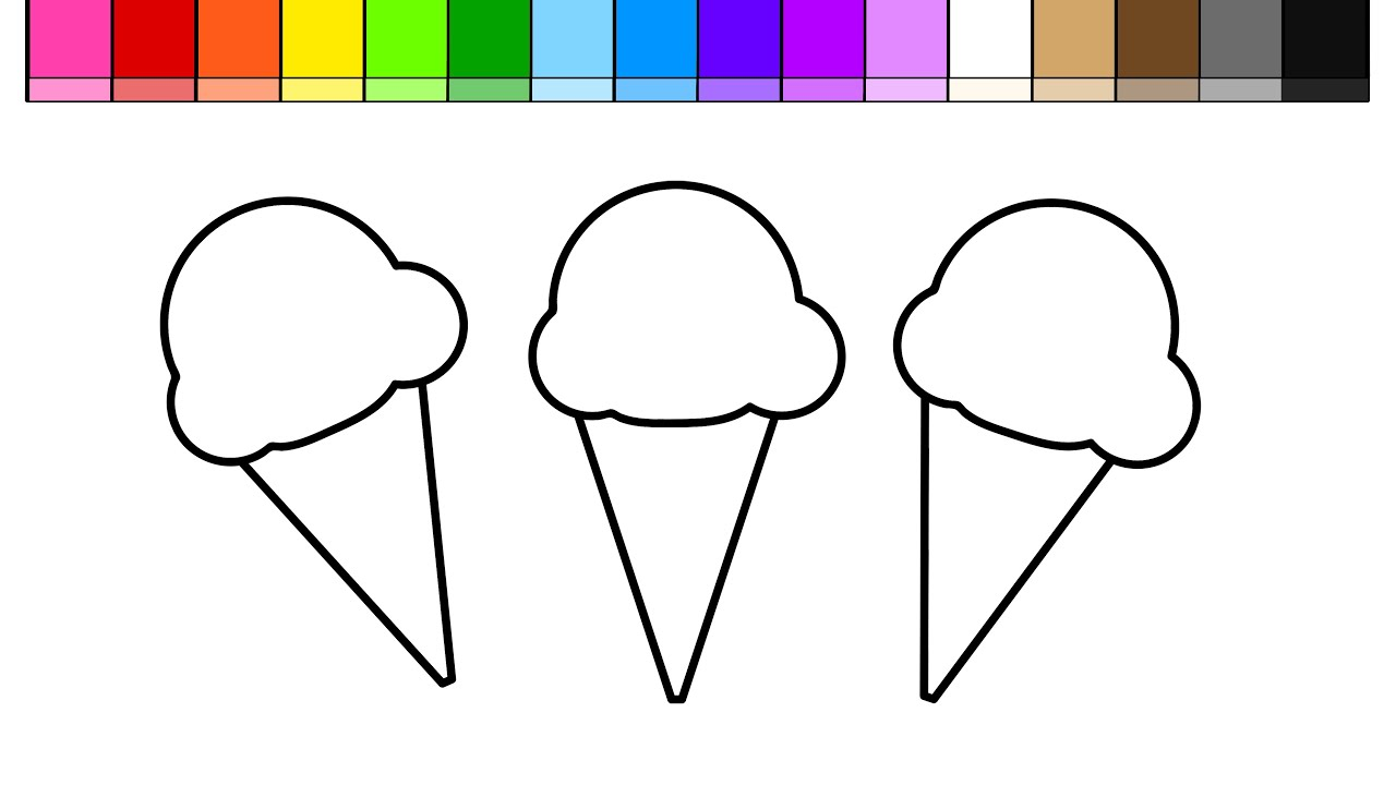 learn colors for kids and color draw ice cream banana split coloring page