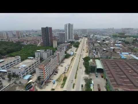 aerial view - Shenzhen city, China (industrial area)