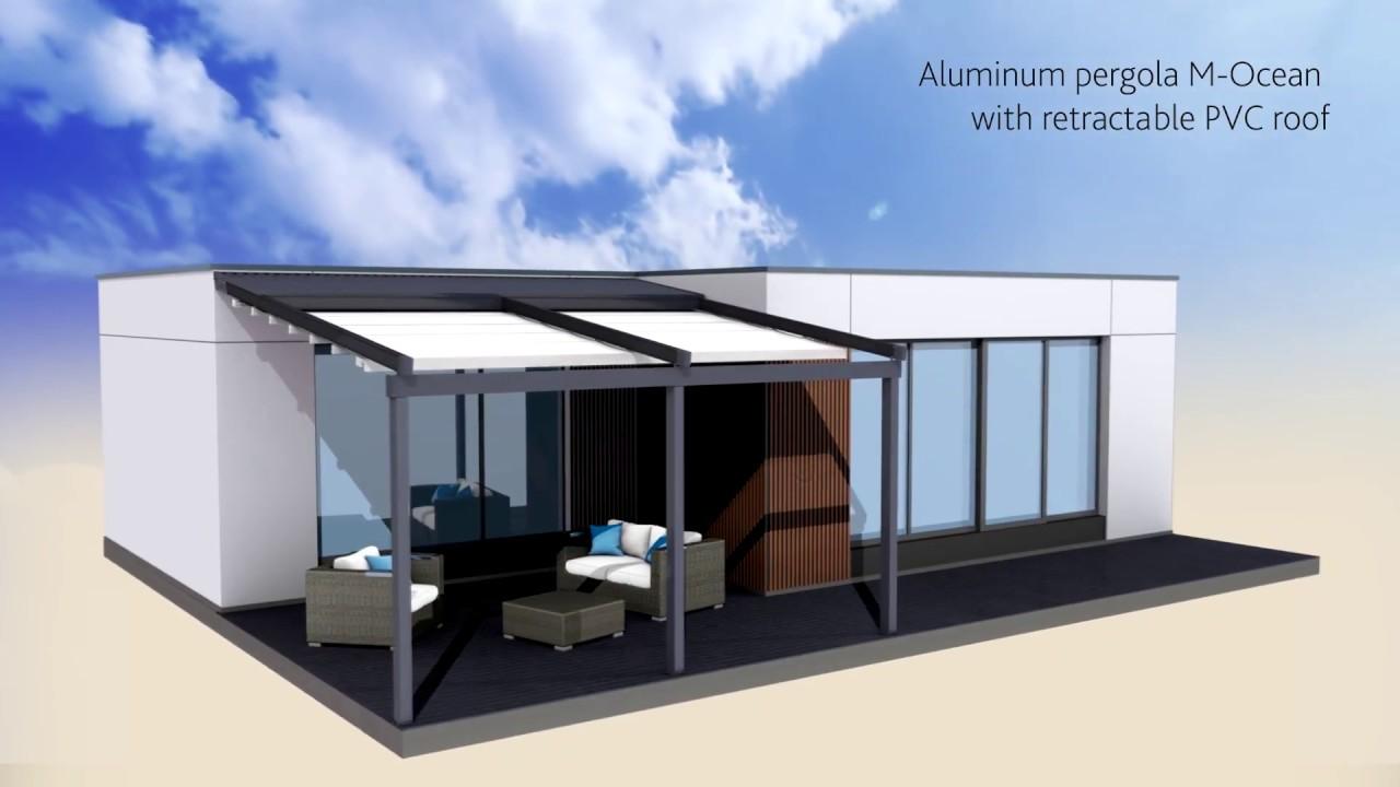 Aluminum pergola M-Ocean with sliding PVC roof - YouTube