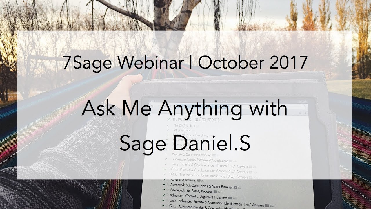 AMA with 7Sager Daniel S (177 on Sept  LSAT) - Oct  25, 2017